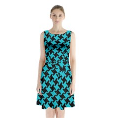 Houndstooth2 Black Marble & Turquoise Colored Pencil Sleeveless Waist Tie Chiffon Dress by trendistuff