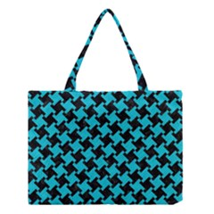 Houndstooth2 Black Marble & Turquoise Colored Pencil Medium Tote Bag by trendistuff