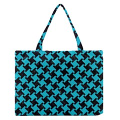 Houndstooth2 Black Marble & Turquoise Colored Pencil Zipper Medium Tote Bag by trendistuff