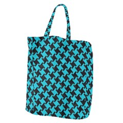 Houndstooth2 Black Marble & Turquoise Colored Pencil Giant Grocery Zipper Tote