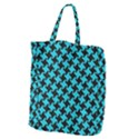 HOUNDSTOOTH2 BLACK MARBLE & TURQUOISE COLORED PENCIL Giant Grocery Zipper Tote View2