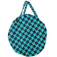 Houndstooth2 Black Marble & Turquoise Colored Pencil Giant Round Zipper Tote by trendistuff