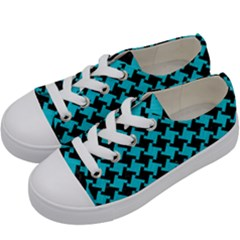 Houndstooth2 Black Marble & Turquoise Colored Pencil Kids  Low Top Canvas Sneakers by trendistuff