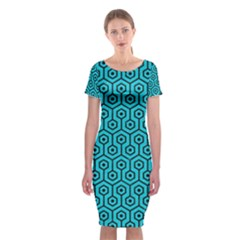 Hexagon1 Black Marble & Turquoise Colored Pencil Classic Short Sleeve Midi Dress