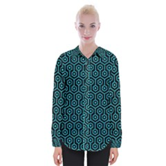 Hexagon1 Black Marble & Turquoise Colored Pencil (r) Womens Long Sleeve Shirt