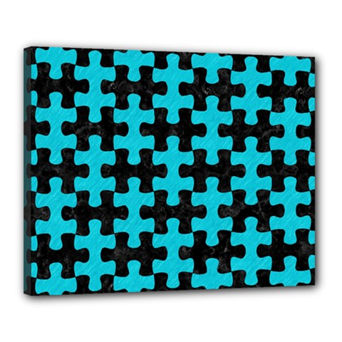 Puzzle1 Black Marble & Turquoise Colored Pencil Canvas 20  X 16  by trendistuff