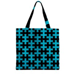Puzzle1 Black Marble & Turquoise Colored Pencil Zipper Grocery Tote Bag by trendistuff