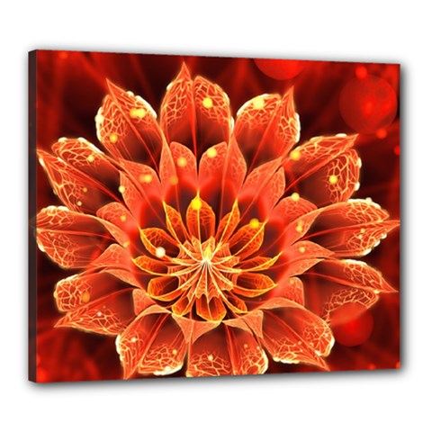 Beautiful Ruby Red Dahlia Fractal Lotus Flower Canvas 24  X 20  by beautifulfractals