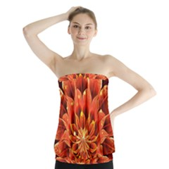 Beautiful Ruby Red Dahlia Fractal Lotus Flower Strapless Top by beautifulfractals