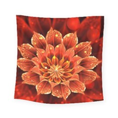Beautiful Ruby Red Dahlia Fractal Lotus Flower Square Tapestry (small) by jayaprime