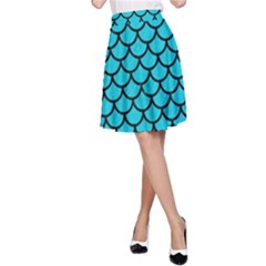 Scales1 Black Marble & Turquoise Colored Pencil A Line Skirt by trendistuff