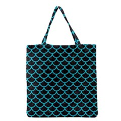 Scales1 Black Marble & Turquoise Colored Pencil (r) Grocery Tote Bag by trendistuff