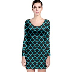 Scales1 Black Marble & Turquoise Colored Pencil (r) Long Sleeve Velvet Bodycon Dress by trendistuff