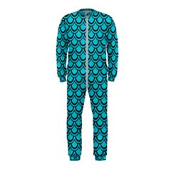 Scales2 Black Marble & Turquoise Colored Pencil Onepiece Jumpsuit (kids) by trendistuff