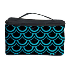 Scales2 Black Marble & Turquoise Colored Pencil (r) Cosmetic Storage Case by trendistuff