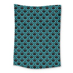 Scales2 Black Marble & Turquoise Colored Pencil (r) Medium Tapestry by trendistuff