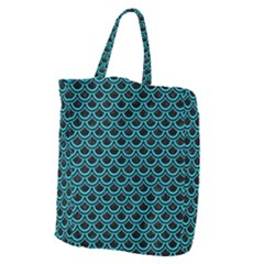 Scales2 Black Marble & Turquoise Colored Pencil (r) Giant Grocery Zipper Tote by trendistuff