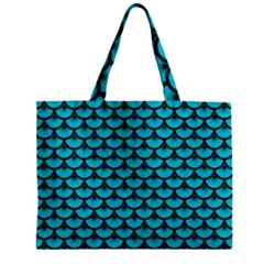 Scales3 Black Marble & Turquoise Colored Pencil Zipper Mini Tote Bag by trendistuff