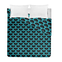 Scales3 Black Marble & Turquoise Colored Pencil (r) Duvet Cover Double Side (full/ Double Size) by trendistuff