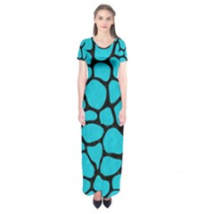 Skin1 Black Marble & Turquoise Colored Pencil (r) Short Sleeve Maxi Dress