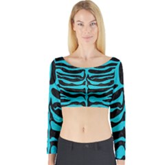 Skin2 Black Marble & Turquoise Colored Pencil (r) Long Sleeve Crop Top by trendistuff