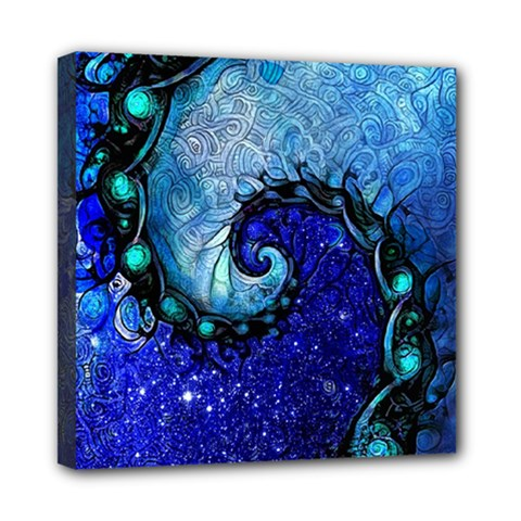 Nocturne Of Scorpio, A Fractal Spiral Painting Mini Canvas 8  X 8  by jayaprime