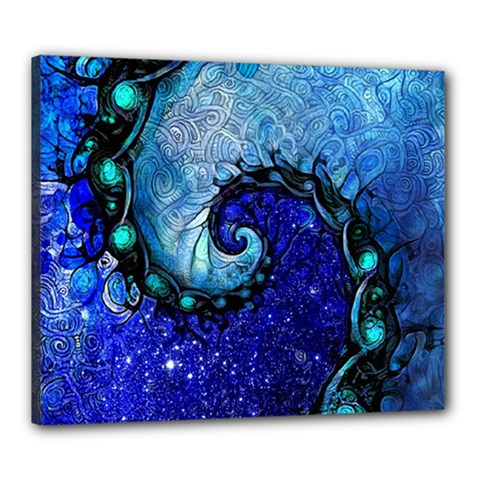 Nocturne Of Scorpio, A Fractal Spiral Painting Canvas 24  X 20  by beautifulfractals