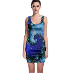 Nocturne Of Scorpio, A Fractal Spiral Painting Bodycon Dress by jayaprime