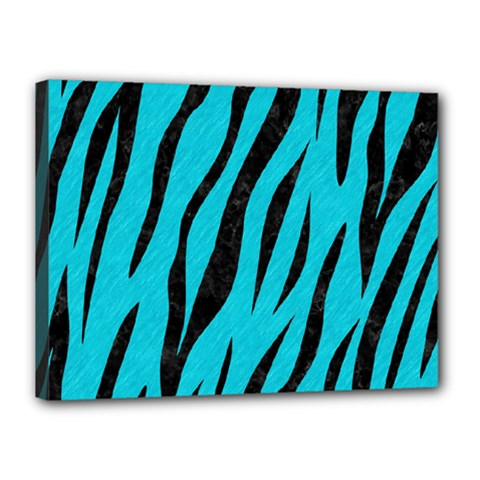 Skin3 Black Marble & Turquoise Colored Pencil Canvas 16  X 12  by trendistuff