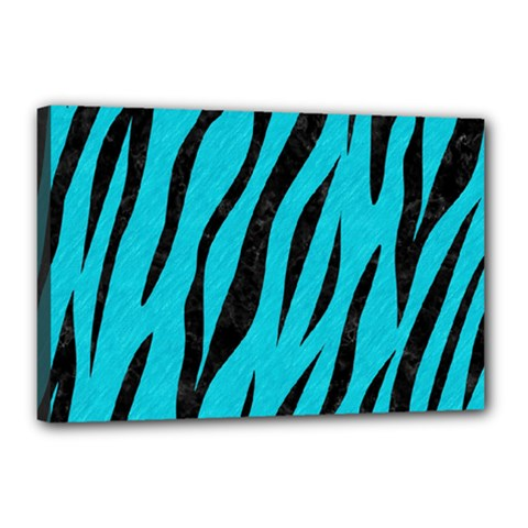 Skin3 Black Marble & Turquoise Colored Pencil Canvas 18  X 12  by trendistuff