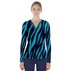 Skin3 Black Marble & Turquoise Colored Pencil (r) V Neck Long Sleeve Top