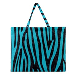 Skin4 Black Marble & Turquoise Colored Pencil Zipper Large Tote Bag by trendistuff