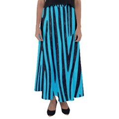Skin4 Black Marble & Turquoise Colored Pencil (r) Flared Maxi Skirt
