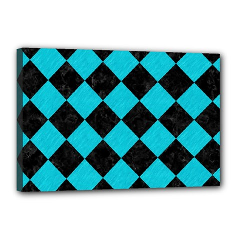 Square2 Black Marble & Turquoise Colored Pencil Canvas 18  X 12  by trendistuff