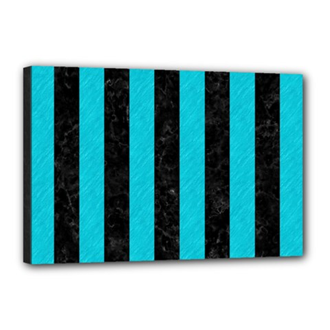 Stripes1 Black Marble & Turquoise Colored Pencil Canvas 18  X 12  by trendistuff