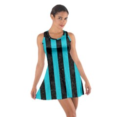 Stripes1 Black Marble & Turquoise Colored Pencil Cotton Racerback Dress
