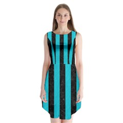 Stripes1 Black Marble & Turquoise Colored Pencil Sleeveless Chiffon Dress