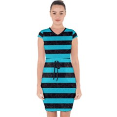 Stripes2 Black Marble & Turquoise Colored Pencil Capsleeve Drawstring Dress