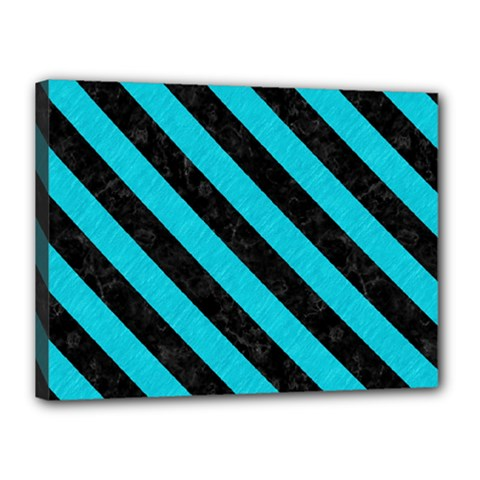 Stripes3 Black Marble & Turquoise Colored Pencil Canvas 16  X 12  by trendistuff