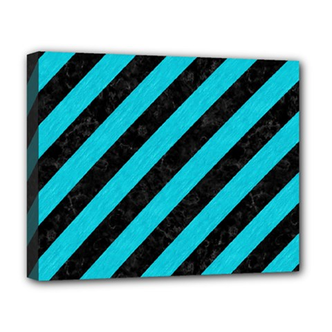 Stripes3 Black Marble & Turquoise Colored Pencil (r) Deluxe Canvas 20  X 16   by trendistuff