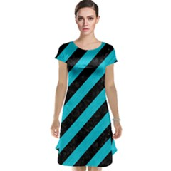 Stripes3 Black Marble & Turquoise Colored Pencil (r) Cap Sleeve Nightdress