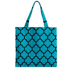 Tile1 Black Marble & Turquoise Colored Pencil Zipper Grocery Tote Bag by trendistuff