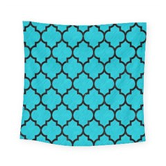 Tile1 Black Marble & Turquoise Colored Pencil Square Tapestry (small) by trendistuff