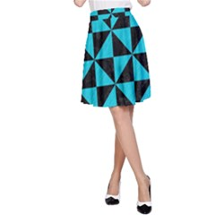 Triangle1 Black Marble & Turquoise Colored Pencil A Line Skirt by trendistuff