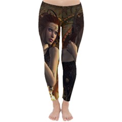 Wonderful Steampunk Women With Clocks And Gears Classic Winter Leggings by FantasyWorld7