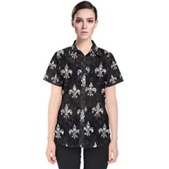 Royal1 Black Marble & Silver Foil Women s Short Sleeve Shirt