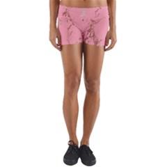 Luxurious Pink Marble Yoga Shorts by tarastyle