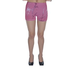 Luxurious Pink Marble Skinny Shorts by tarastyle