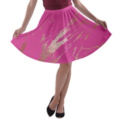 Luxurious Pink Marble A Line Skater Skirt by tarastyle