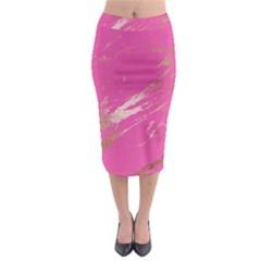 Luxurious Pink Marble Midi Pencil Skirt by tarastyle